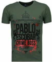 Groene T-shirt Korte Mouw Local Fanatic Pablo Escobar Boss - Rhinestone T-shirt