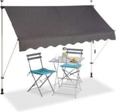 Relaxdays klem zonwering - markies - zonwering balkon - klemzonnescherm grijs - 200-300 cm 250 x 120 cm