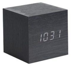 Zwarte Karlsson Alarm clock Mini Cube black veneer, white LED