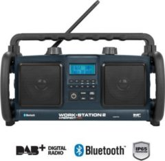 PerfectPro Workstation 2 Baustellenradio, DAB+, Bluetooth, AUX-Eingang, in blau