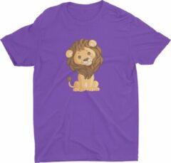Paarse Pixeline Leeuw #Purple 118-128 8 jaar - Kinderen - Baby - Kids - Peuter - Babykleding - Kinderkleding - Leeuw - T shirt kids - Kindershirts - Pixeline - Peuterkleding