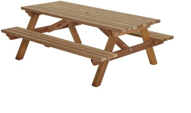 Afbeelding van Bruine Talen Buitenmeubelen Picknicktafel hardhout 200cm