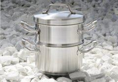 Zilveren Stoomset 20cm - kookpan + stoominzet - Habonne