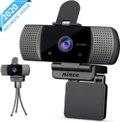 Zwarte Nince Webcam van hoge Kwaliteit 2021 Model Full HD 1080P - Webcam voor pc / webcam voor laptop - Webcam met Microfoon - Webcams