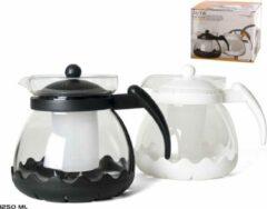 Gerim Witte theepot van glas met thee filter/infuser 1,25 liter - Theepotten/theekannen