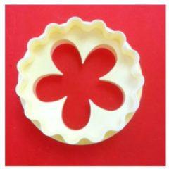 Witte 2-zijdige uitsteker / uitsteek vorm - bloem en geschulpte cirkel - FMM