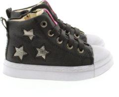 Zilveren Shoesme zwarte hoge sneakers met shiny sterren (SH20W020-C). Maat 26