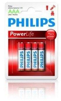 Afbeelding van Rode Philips Batterij Penlite LR03 Micro Powerlife 1.5V AAA Per 4
