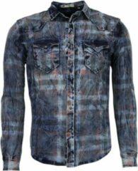 Enos Denim Overhemd - Slim Fit Lange Mouwen Heren - Kleur Print - Blauw Casual overhemden heren Heren Overhemd Maat S
