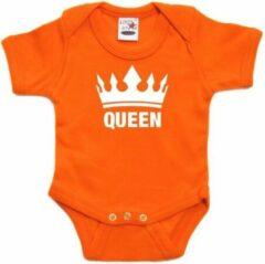 Bellatio Decorations Oranje koningsdag romperje Queen met kroon baby 56 (1-2 maanden)