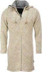Beige Merkloos / Sans marque Pure Wool - Ecru - Vest Dames - 100% Wol Unisex Vest Maat M