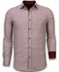 Tony Backer Italiaanse Overhemden - Slim Fit Overhemd - Blouse Garment Pattern - Rood Casual overhemden heren Heren Overhemd Maat 3XL