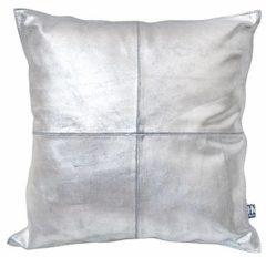 Zilveren HK Living Hkliving Kussen Leer 45 x 45 cm - Zilver