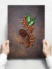Witte Creatief Art Wandbord: Koffiebonen op een roestige achtergrond - 30 x 42 cm