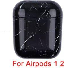 Casies AirPods Marmer Case Cover - Beschermhoes - Zwart - Geschikt voor Apple AirPods 1/2