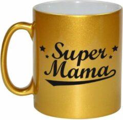 Bellatio Decorations Super Mama Tekst Cadeau Mok / Beker - Goudkleurig - Moederdag - 330 Ml - Kado Koffiemok / Theebeker