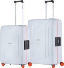 Licht-grijze CarryOn Steward Kofferset - 2-delige TSA Trolleyset met kliksloten - Dubbele wielen - Lichtgrijs