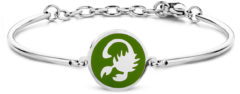 CO88 Collection Zodiac 8CB 90329 Stalen Armband met Hanger - Sterrenbeeld Schorpioen 15 mm - One-size - Zilverkleurig / Donkergroen