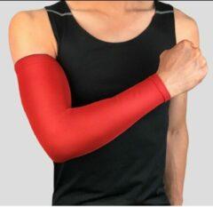 CLIKS Set fiets armwarmers ( 2 stuks ) – Rood - armstukken – cycling arm sleeves – armbeschermers – sport armmouwen - Maat XXL
