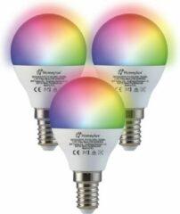 Homeylux® E14 SMART Wifi LED Lamp 3 Stuks - RGBWW Wifi 5.5 Watt 470lm P45 Dimbaar - Bedienbaar via Homeylux® App - Google Home en Amazon Alexa