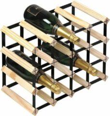 Naturelkleurige RTA Wineracks - Wijnrek Black steel - Natural - 16 Bottle Assembled 4x3
