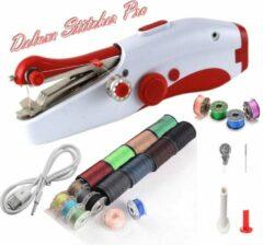 Deluxe Stitcher Pro - PREMIUM Handnaaimachine met USB Kabel + 20 spoelen met garen en extra accessoires - Mini naaimachine - Compact - Draadloos - Draagbare Hand Naaimachine - Elektrisch of op Batterijen