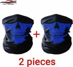 Blauwe Elemental GOods 2 Stuks Luxe Biker Mask - Fietsmasker - Motormasker - Bandana - Balaclava - Gezichtsmasker - Bivakmuts