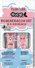 Floslek Vege Lip Care set lip regeneratie in 2 stappen bessen scrub duizeligheid + opmerkelijke tropische lip masker 2x14g