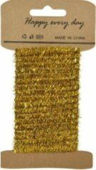 Goudkleurige Decoris Goud lametta lint ijzerdraad op rol 200 cm - Hobby ijzerdraad goud - Kerstartikelen