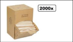 Bruine Thema party 2000x BIO Roerstaafjes hout in dispenser box - Roer staafjes koffie melk suiker hout festival thema feest verjaardag werk lepel