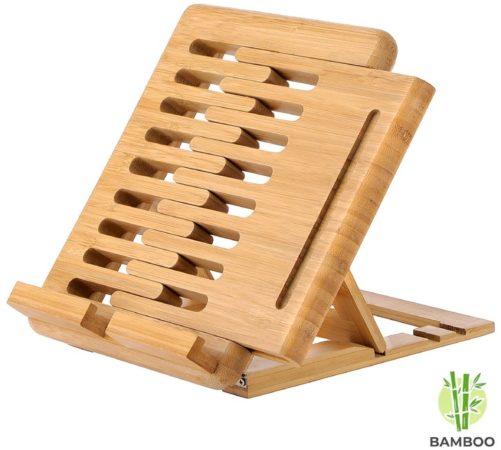 Afbeelding van Luxe boekenstandaard van bamboe hout - Boekenhouder voor o.a. tablet, kookboek (als koekboekstandaard in keuken), of boek - Boekensteun, verstelbaar & inklapbaar - Decopatent®