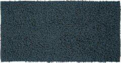 Zwarte Sealskin badmat Furry blauw microfiber 60x120