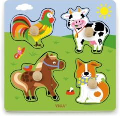 Vigatoys Viga Toys - Vormenpuzzel - Boerderij Dieren - 5 delig