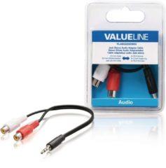 Valueline VLAB22250B02 kabeladapter/verloopstukje 3.5mm 2 x RCA Zwart, Rood, Wit