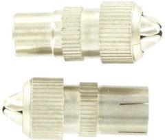 Grijze Kopp coax stekker metaal recht | male + female | 2 stuks