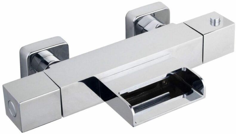 Afbeelding van Douche Concurrent Badkraan Rombo 15cm Hartafstand Thermostatisch Opbouw Vierkant Chroom 2 Greeps met Waterval