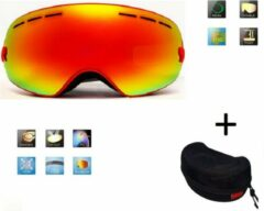 Improducts Ski bril + hard case lens Smoke red frame Rood F type 1 Cat. 0 tot 4 - ☀/☁ extra lens is optie.