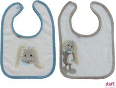 """Blauwe Steff konijntje """"Rabbit"""" set van 2 slabbetjes blauw + grijs"""