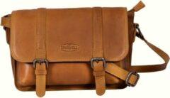 Sparwell Tas - Lederen Schoudertas - Compact maar veel plek - Cognac / Bruin (Dames tas)