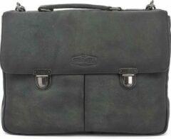 Antraciet-grijze Sparwell tas - Lederen aktetas - 15.5 inch laptoptas - zwart