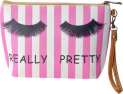 Clayre & Eef Melady Toilettas Dames MLTT0069M 22*6*15 cm - Roze Polyester Make Up Tasje Make-Up Etui