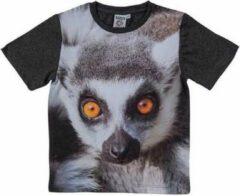 Merkloos / Sans marque Zwart t-shirt met ringstaart maki voor kinderen 128 (8-9 jaar)