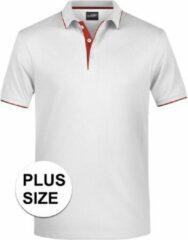 James & Nicholson Grote maten polo shirt Golf Pro premium wit/rood voor heren - Witte plus size herenkleding - Werk/zakelijke polo t-shirt 3XL