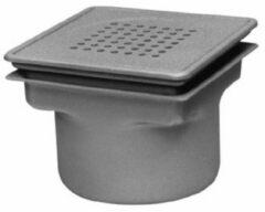 Zilveren Van den Berg Aquaberg RVS vloerput onderuitlaat met emmer 20x20cm RVS rooster 75mm 782202075S
