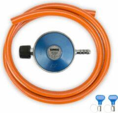 Blauwe Gimeg Gasdrukregelaarset - 29 mbar - Campingaz X slangpilaar - Slang 150 cm
