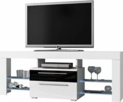 VDD TV meubel TV dressoir Navia high design LED verlichting body wit mat front lades hoogglans zwart wit