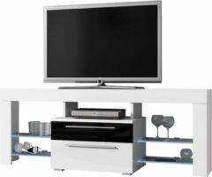 VDD TV meubel TV dressoir Navia high design LED verlichting body wit mat front lades hoogglans zwart wit