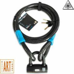 Zwarte Pro-tect Cobalt kabelslot 2,5 meter lang | ø20mm x 250cm | ART1 en VBV Keuring | Staalkabel met lussen en hangslot | Slot tuinmeubelen terras bootslot Jet Ski