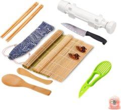 Groene Mr. Sushito Natural White Bazooka set - Sushi set Incl. 2 paar Mr. Sushito Sticks - Sushi maker - Sushi Go - Bamboo Rol - Milieuvriendelijk