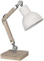 Naturelkleurige Clayre & Eef Bureaulamp 6LMP494N 15*15*47 cm E27/max 1*60W - Natuur Hout / ijzer Tafellamp